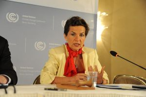 Christiana Figueres speaking at press conference at the Bonn Climate Change Conference, 2012