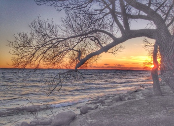 Sunset by Lake Ontario, in November