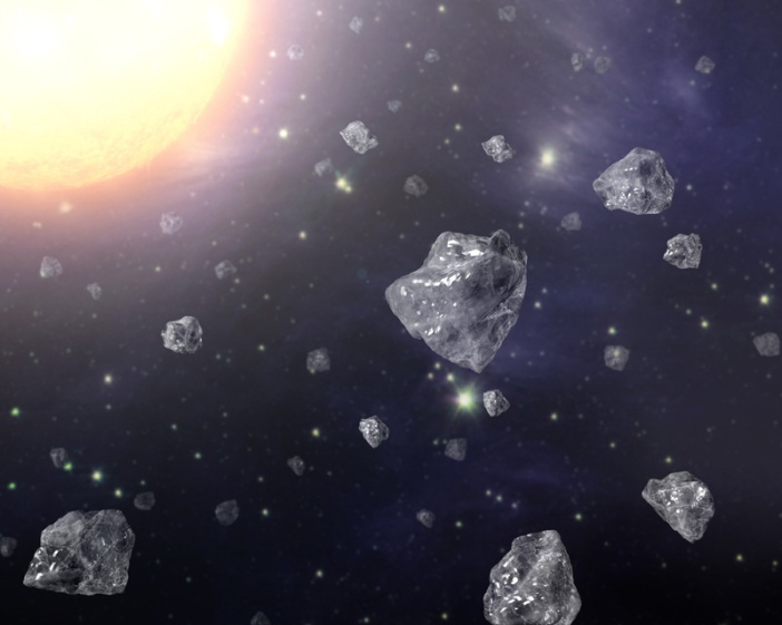 Diamond particles in space (Credit: NASA/JPL Caltech/T. Pyle/SSC SPL)