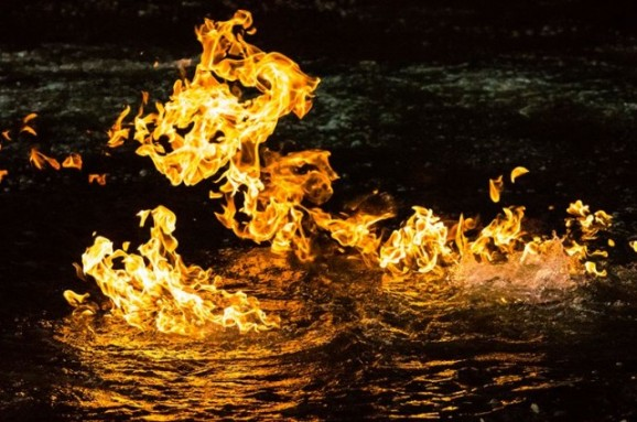 Australia river methane fire