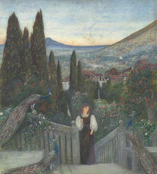Marie_Spartali_Stillman_-_A_lady_with_peacocks_in_a_garden,_an_Italianate_landscape_beyond