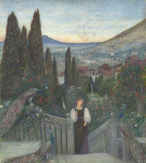 Marie_Spartali_Stillman_-_A_lady_with_peacocks_in_a_garden,_an_Italianate_landscape_beyond